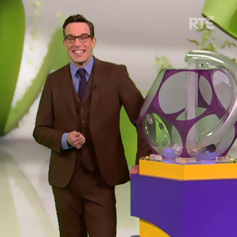 Photo shows Declan presenting Telly Bingo on RTE television.