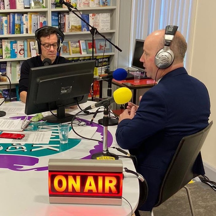 Declan interviewing Minister Jim Daly on WIMS FM 2019